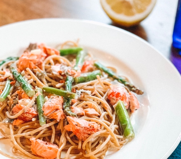 Creamy Pasta with Asparagus + Smoked Salmon